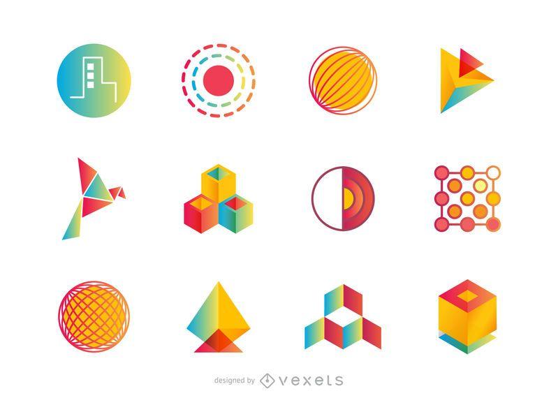 Conjunto de logotipo abstrato ou coleção