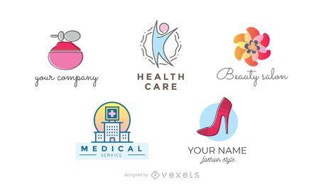 Conjunto de logotipo de salud y belleza