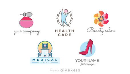 Health and beauty logo set