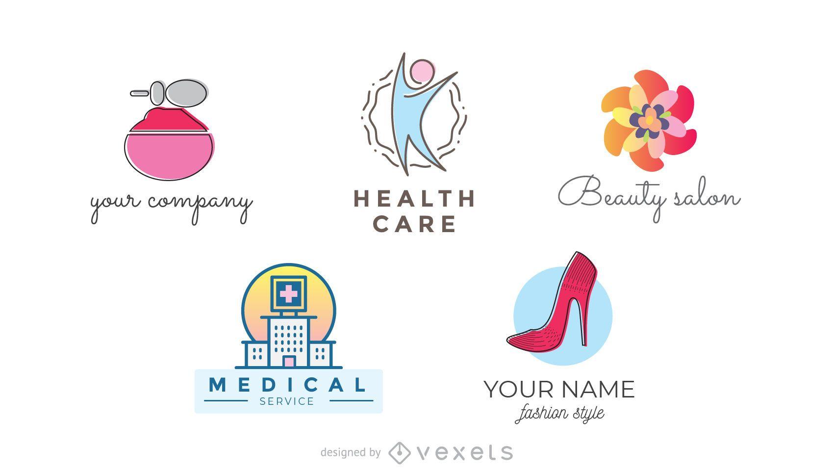 Health and beauty logo set