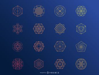 Hexagonal abstract elements set