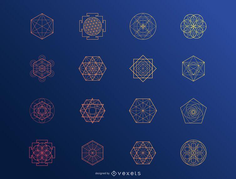 Hexagonal abstract elements set