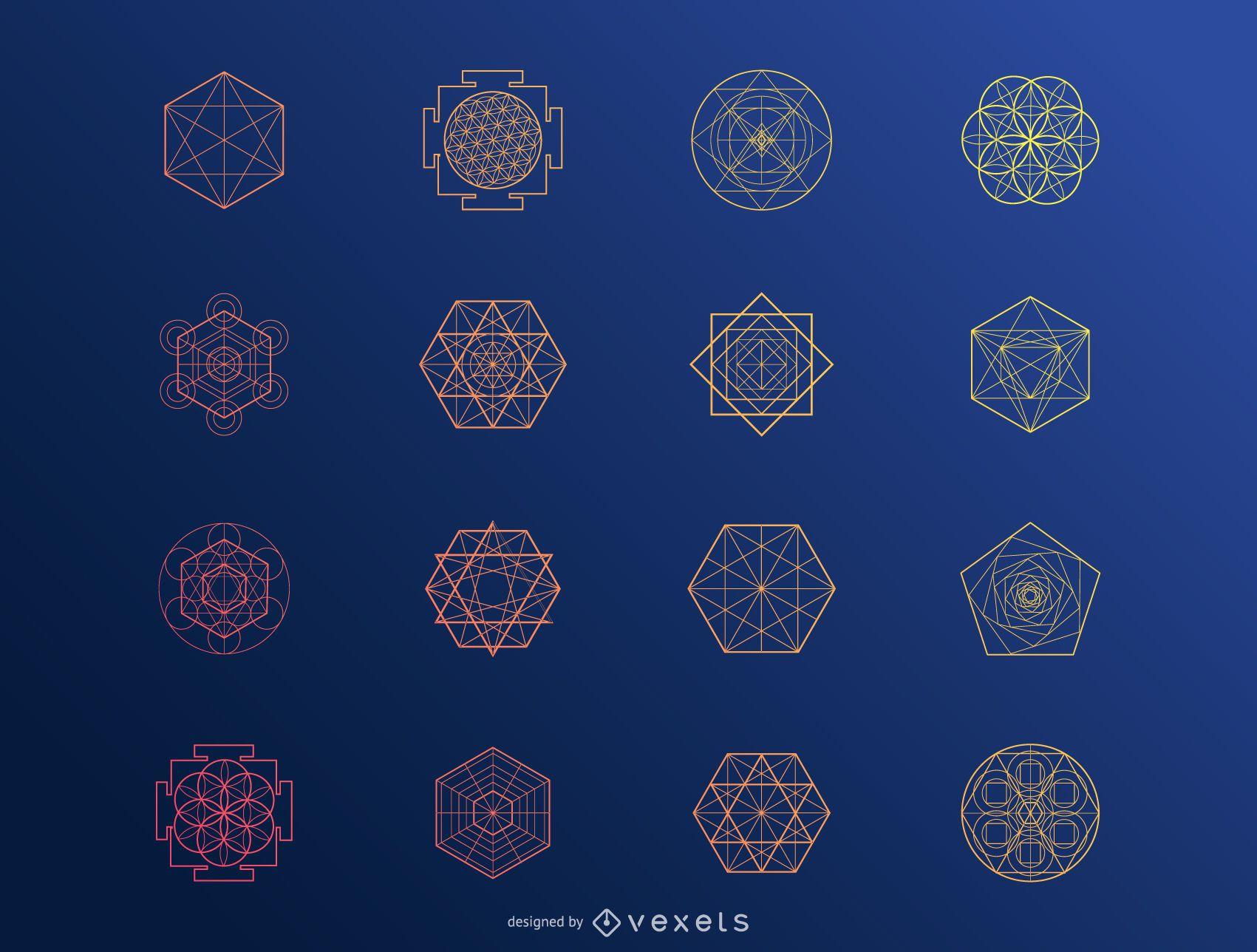Conjunto de elementos abstractos hexagonales