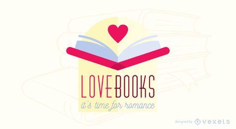 Diseño de logotipo de libro romántico