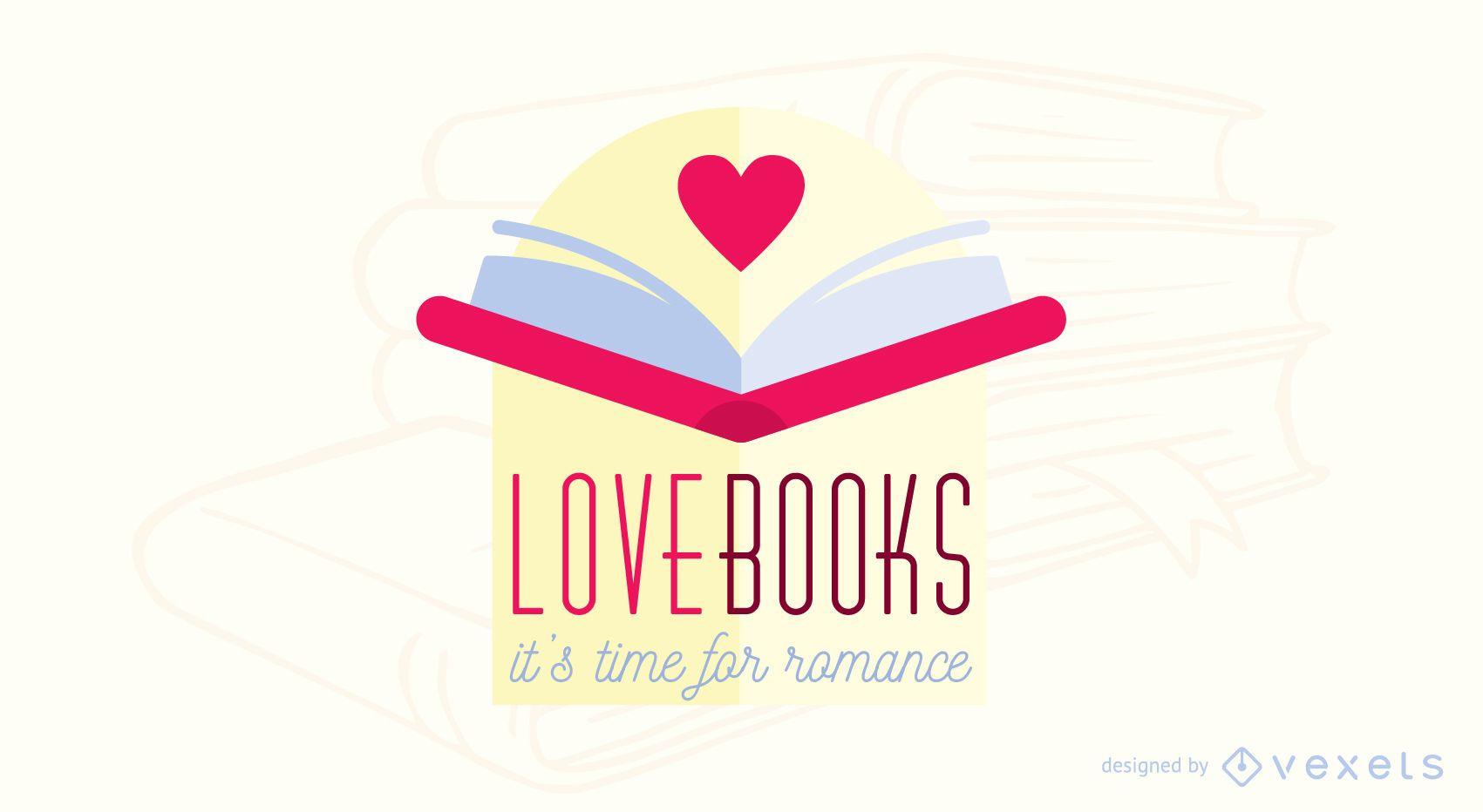Dise?o de logotipo de libro de romance