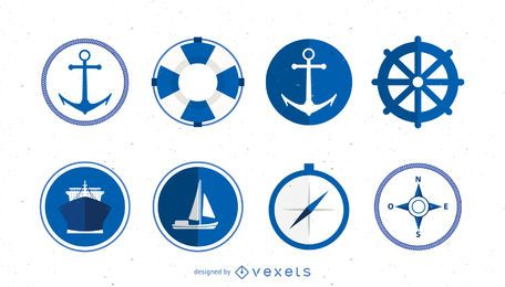 Marine Logo Icons Set