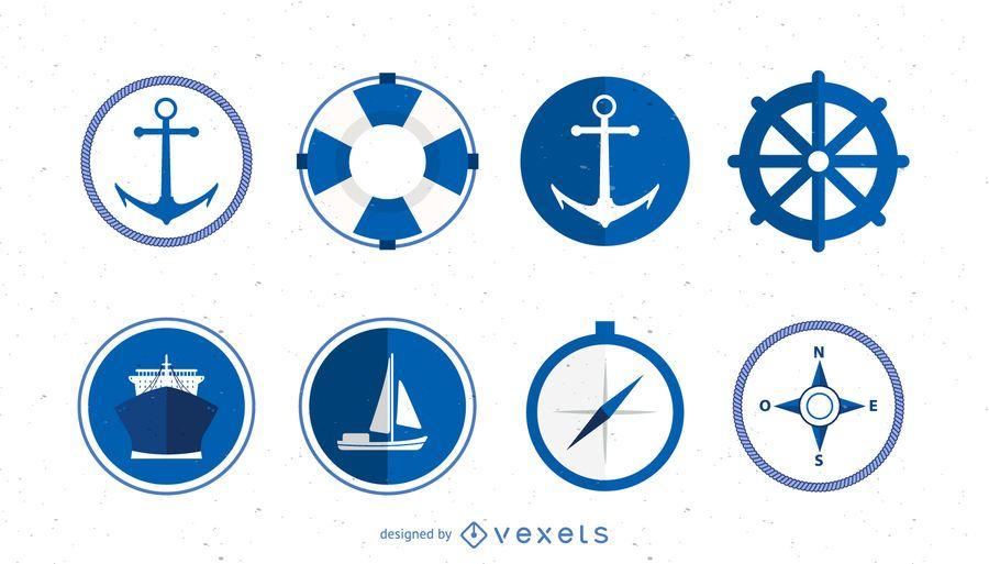 Conjunto de iconos de logotipo marino