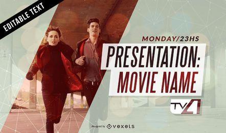 Presentación de la película pantalla de televisión.