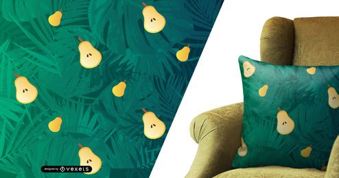 Pears and palm leaves pattern