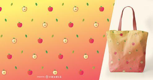 Patrón tropical de manzanas y hojas.
