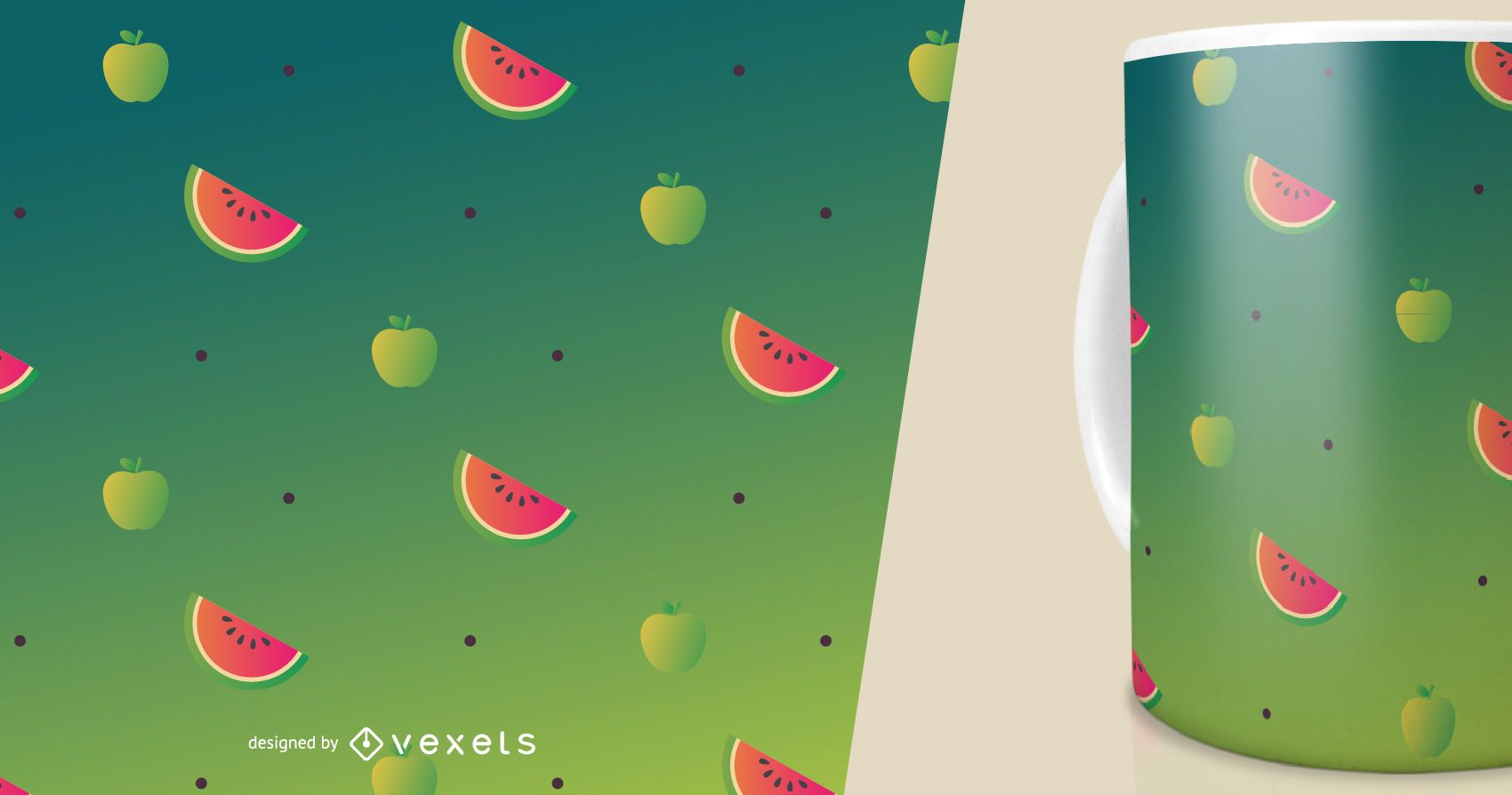 Apples and watermelon slices pattern