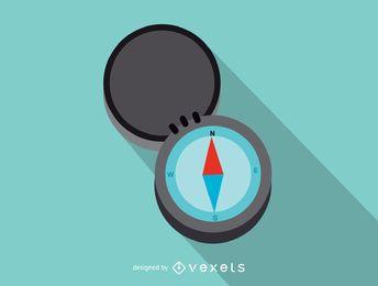 Icono de brújula de viaje plano