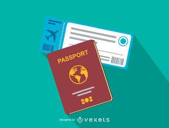 Icono de pasaporte y boleto de vuelo
