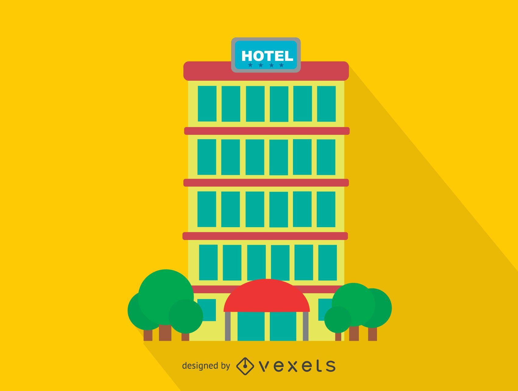 Icono de viaje de edificio de hotel
