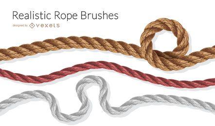 Conjunto de ilustração realista de pincéis de corda