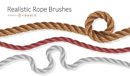 Realistic rope brushes illustration set