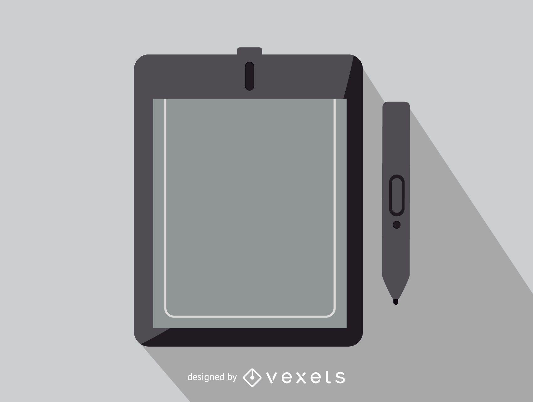 Ícone de escritório do tablet gráfico