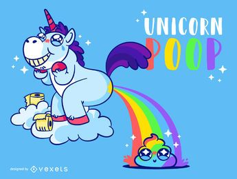 Cocô de unicórnio fofo arco-íris