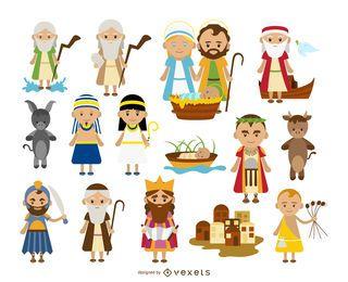 Colección de dibujos animados de personajes bíblicos