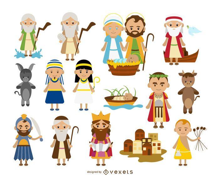 Personagens bíblicos cartoon coleção