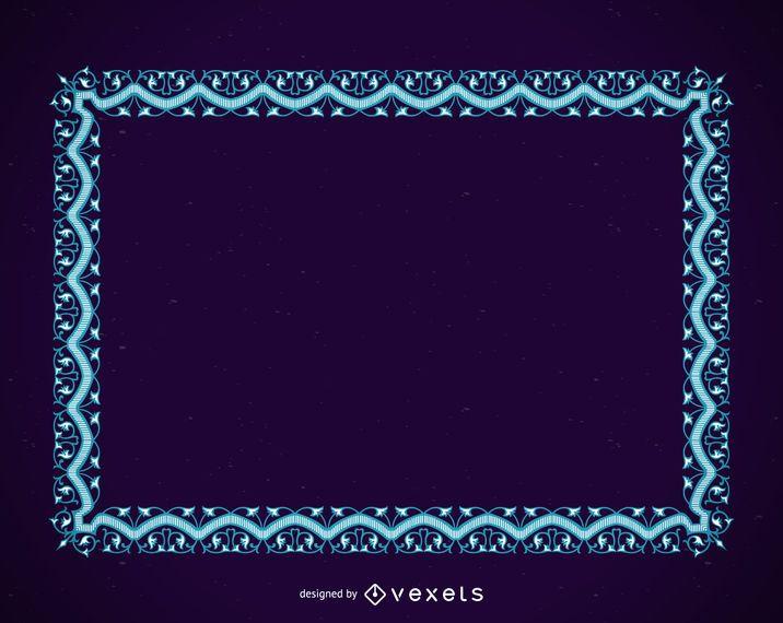 Marco azul con adornos.