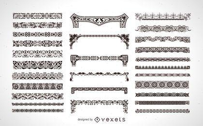 Conjunto de elemento de quadro ornamentais