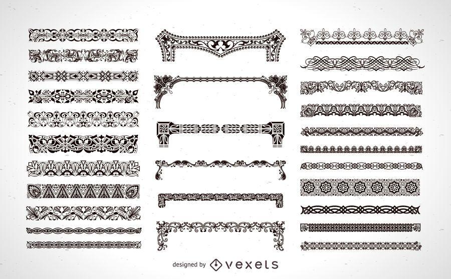 Conjunto de elementos de marco ornamental - Descargar vector