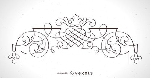Elemento de quadro ornamental detalhado