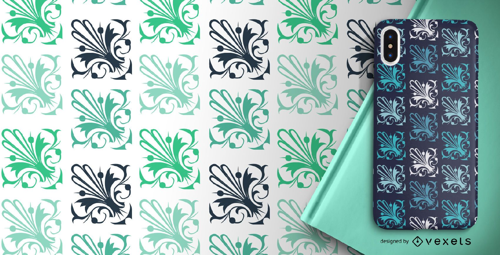 Elegant green ornamental pattern