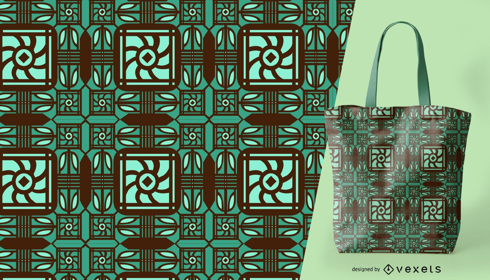 Detailed green ornamental pattern