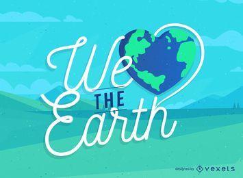 Sinal do dia da terra com uma terra em forma de coração