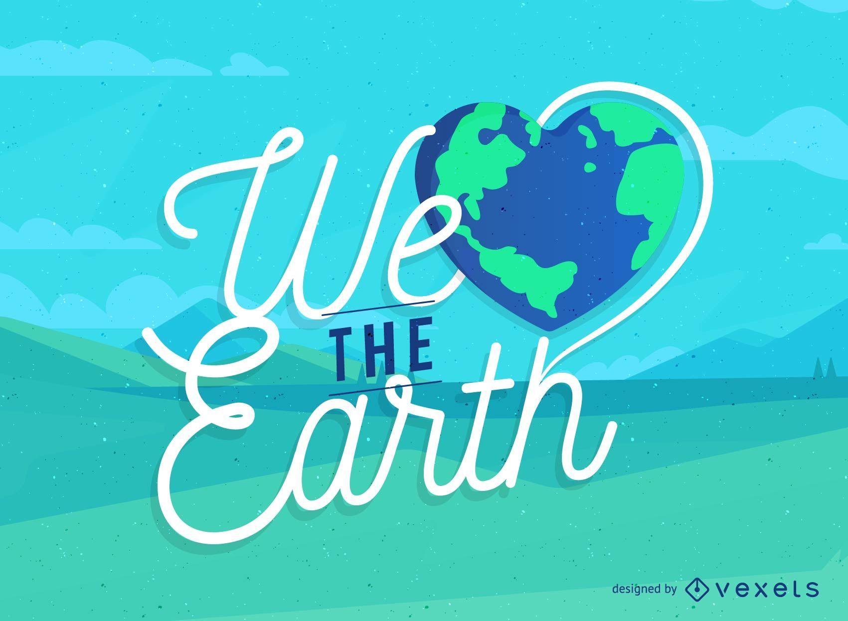 Signo del Día de la Tierra con una Tierra en forma de corazón