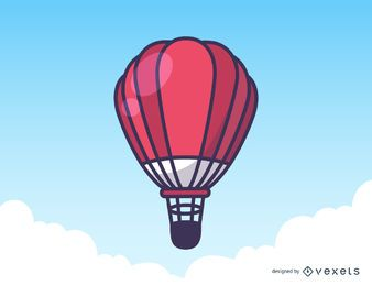Ilustración del globo aerostático rojo