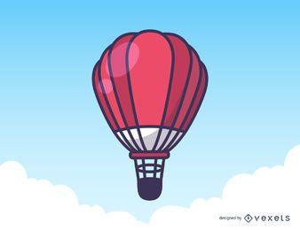 Ilustración de globo de aire caliente rojo