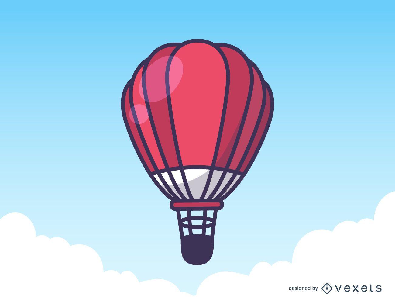 Red hot air balloon illustration
