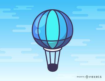 Blaue Heißluftballonkarikatur