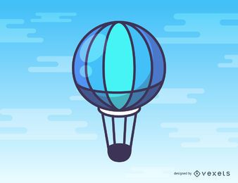 Blue hot air balloon cartoon