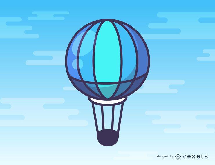 Desenhos animados de balão de ar quente azul