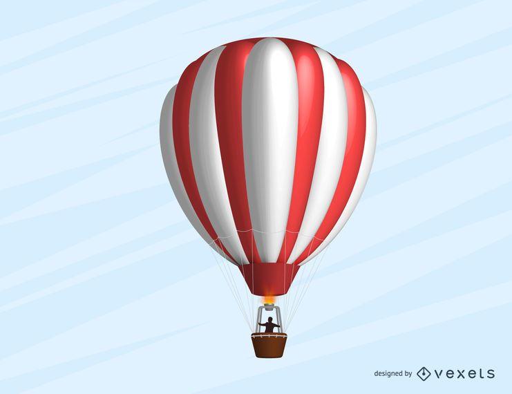 Balão de ar quente listrado