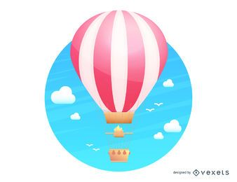 Hot air balloon flying illustration