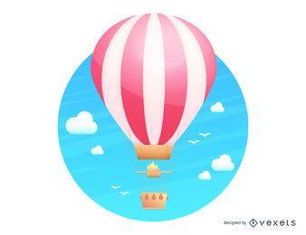 Ilustración de vuelo en globo aerostático