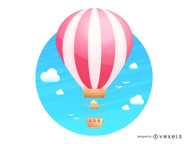 Globo aerostático volando ilustración