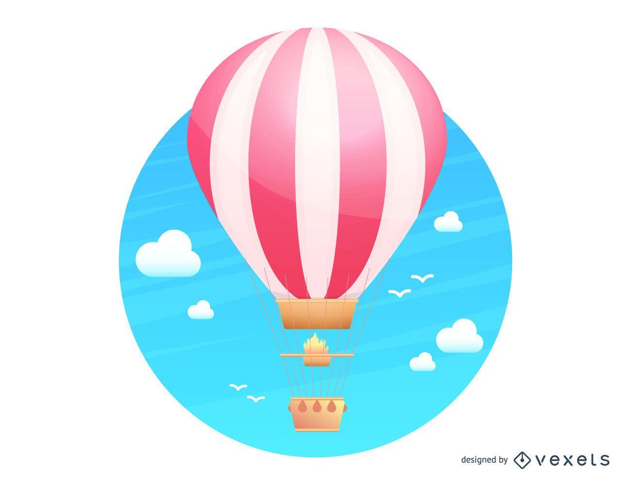 Hot air balloon flying illustration