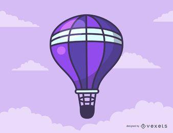 Dibujos animados de globo de aire caliente púrpura