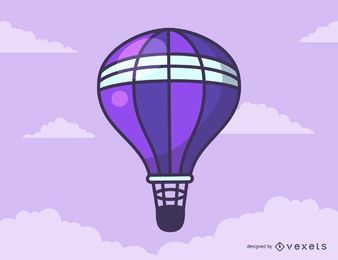 Purple hot air balloon cartoon