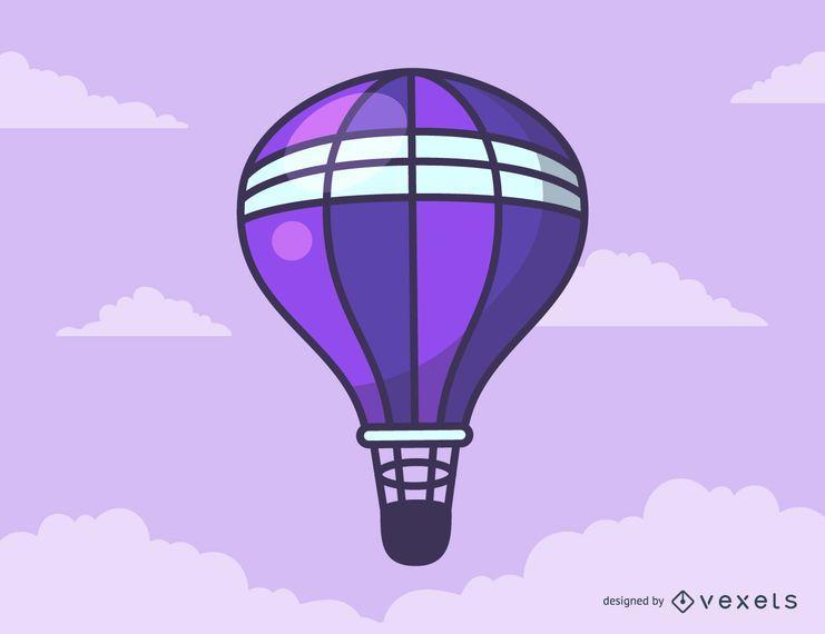 Desenhos animados roxos do balão de ar quente