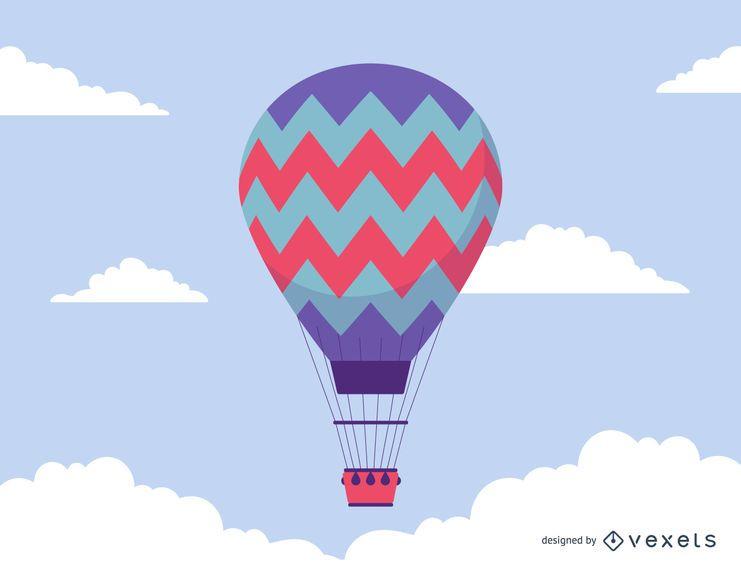 Ilustração simples de balão de ar quente