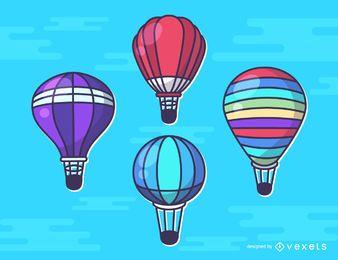 Conjunto de ilustraciones de globos de aire caliente