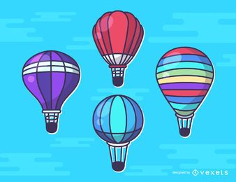 Hot air balloon illustration set