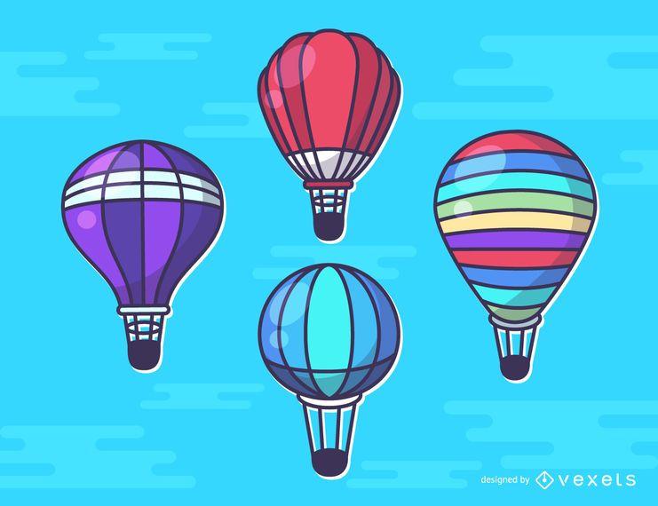 Hot Air Balloons Illustrations Set